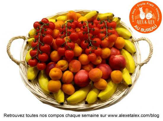 fruits au bureau Alex et Alex corbeille fruits en folie s24