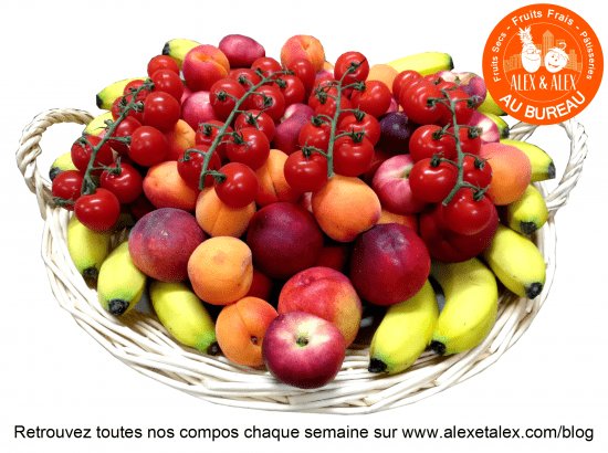 fruits au bureau Alex et Alex corbeille fruits en folie s26