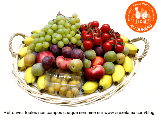 fruits au bureau Alex et Alex corbeille fruits en folie s35