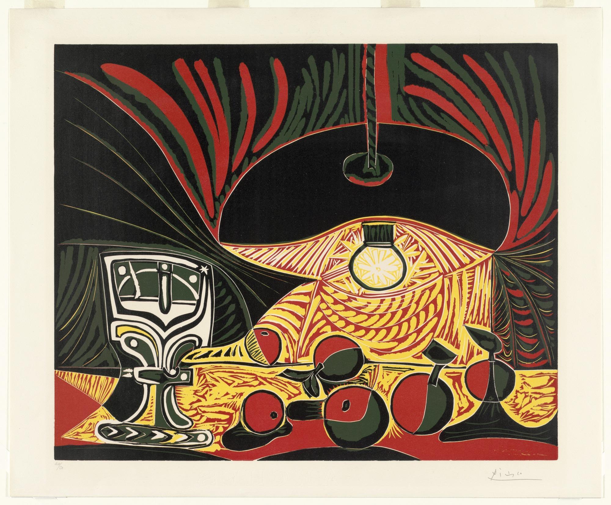 Picasso nature morte au verre sous la lampe
