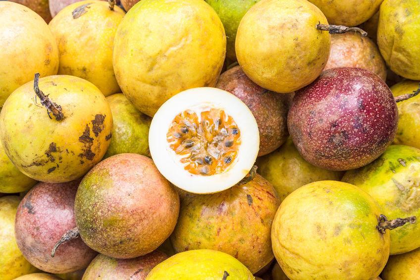 Fruits de la passion pourpres et jaunes