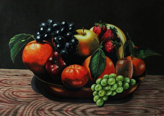 Corbeille de fruits en nature morte