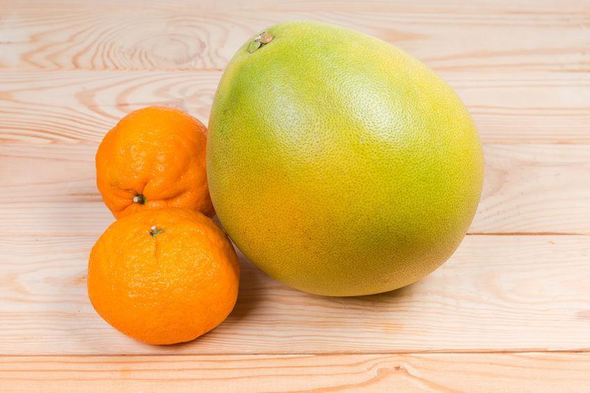 pomelo chinois et deux mandarines
